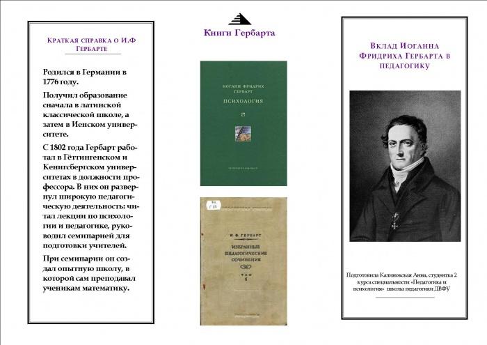 Буклет Иоганн Фридрих Гербарт. Вклад в развитие педагогики ...